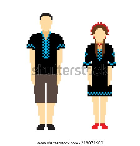 Woman and men in black ethnic Ukrainian clothing. People icons in ethnic clothes. Pixel vector illustration. - stock vector