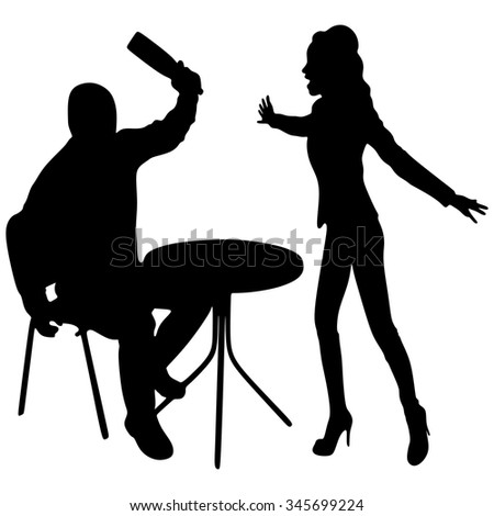 Woman angry that her boyfriend is drunk - stock vector
