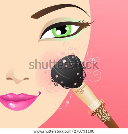 Woman applying blusher. Vector beauty illustration with floral vintage elements. - stock vector