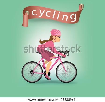 Woman are cycling.vector - stock vector
