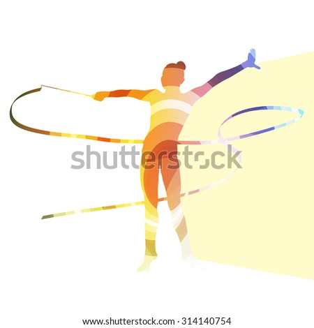 Woman art gymnastics with ribbon silhouette illustration vector background colorful concept made of transparent curved shapes