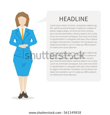 Woman assistant with sample text speech cloud. Customer helpdesk assistance (support service centre). Online operator (assistant). Vector design concept illustration.  - stock vector