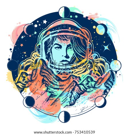 Woman astronaut color tattoo art. Mountains on Mars. Symbol of space travel, scientific research