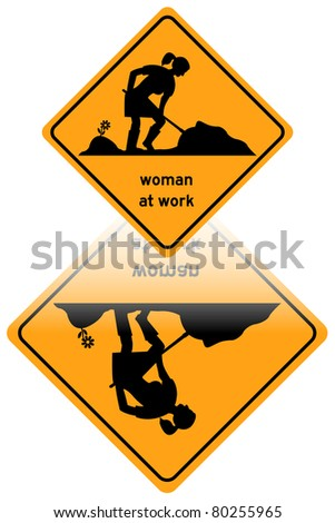 Woman at work traffic sign reflected