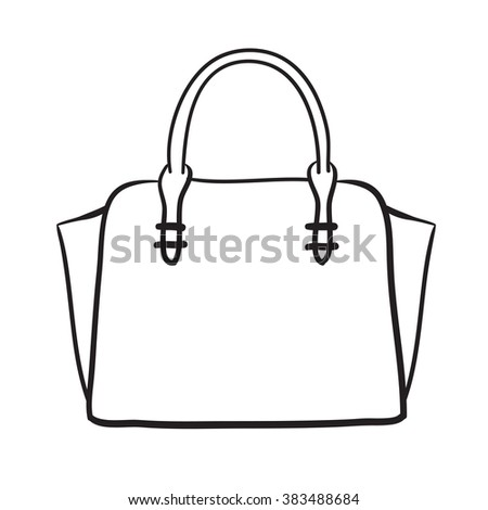 Woman bag hand drawn, female stylish purse vector fashion illustration black on white line  - stock vector