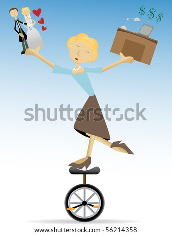 Woman balancing family and work, love and money editable vector illustration - stock vector