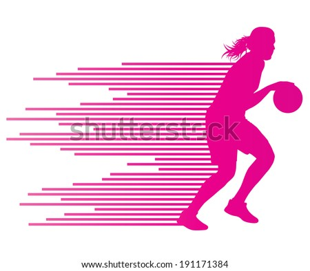 Woman basketball player vector background concept made of colorful stripes - stock vector
