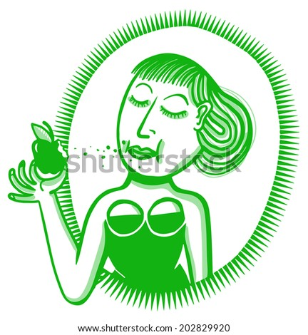 Woman biting apple - stock vector