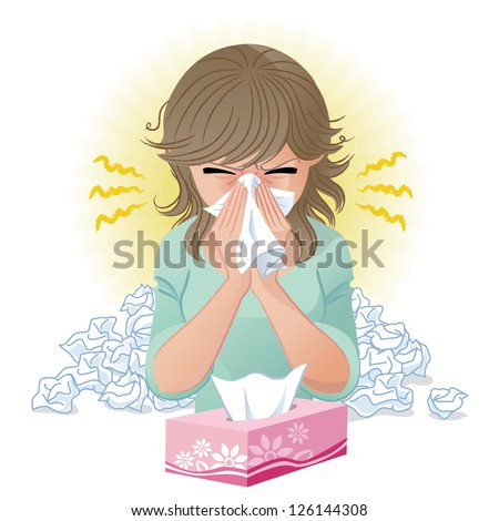 Woman blowing nose. Hay fever,allergy, flu.Gradients and blend tool is used. - stock vector