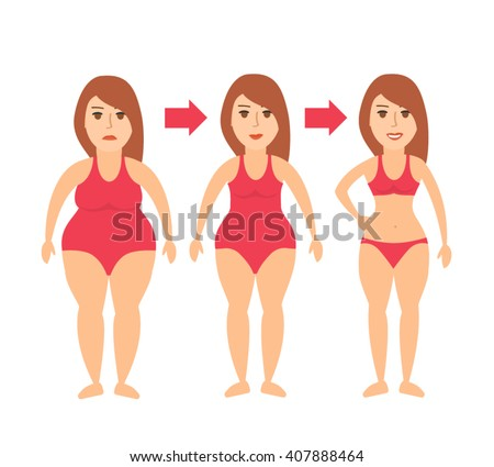 woman body transformation from fat to slim.weight loss concept illustration isolated on white background - stock vector