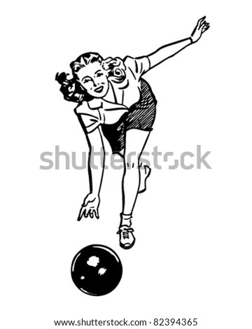 Woman Bowling - Retro Clipart Illustration