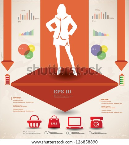 Woman,business and marketing concept,graphics design,vector - stock vector