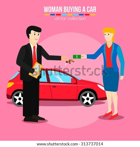Woman buying a car, Used cars sale vector illustrations. Woman giving money for the purchase of cars. Flat style design. - stock vector
