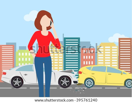 Woman calling after car crash in the city. Minimal flat vector illustration for print or web. City landscape. Urban - stock vector