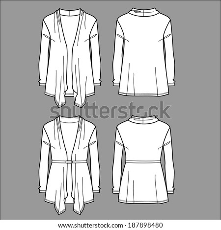 Woman cardigan. Front and back views - stock vector