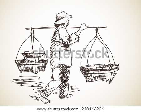 Woman carrying a yoke on her shoulder, Vector sketch, Hand drawn illustration