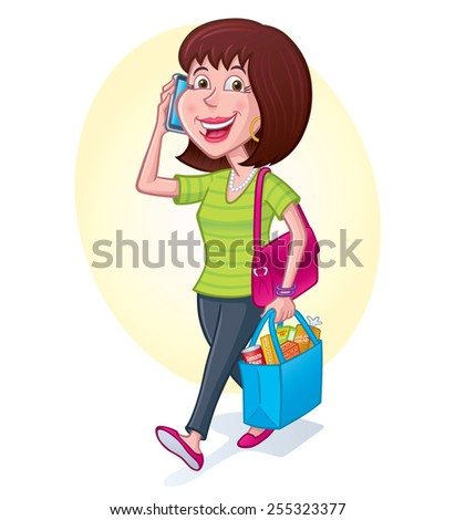 Woman Carrying Groceries While On Cell Phone