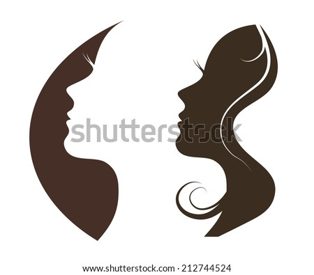 Woman chat vector logo design template. Girl silhouette - cosmetics, beauty, health; spa, fashion themes. Creative icon. - stock vector