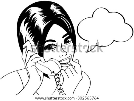 woman chatting on the phone, pop art illustration in black and white, vector illustration