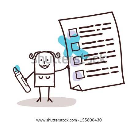 woman & checking list - stock vector