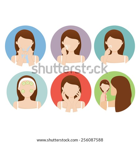 woman clean her face - stock vector