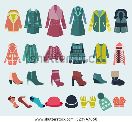 Woman Clothes collection Fashion boutique  for design. Vector set icon of winter clothes and accessories  - Illustration - stock vector