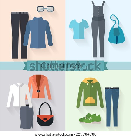 Woman clothing icon set. Casual style. Flat style vector illustration.  - stock vector