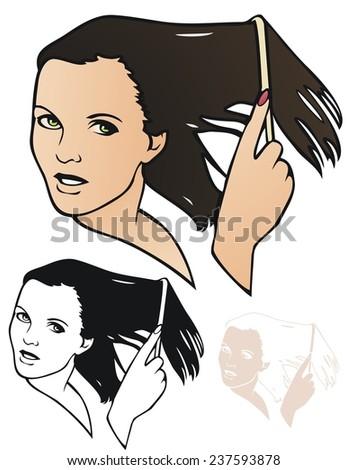 Woman combing her wet hair - stock vector