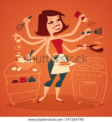 Woman cooking breakfast. Household series vector ...