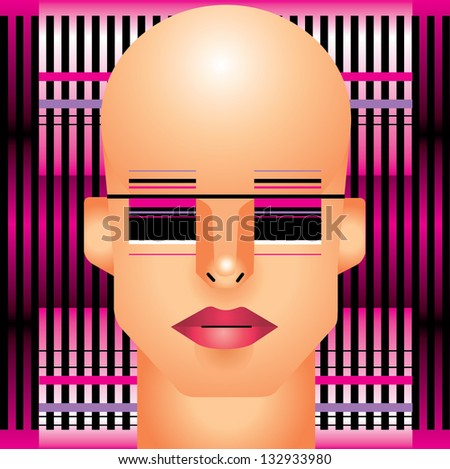 Woman cyborg head - stock vector
