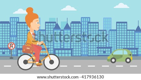 Woman cycling to work. - stock vector