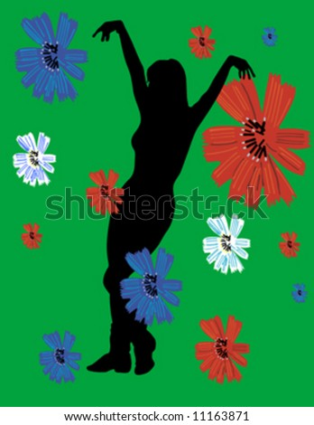 woman dancing and flower - stock vector