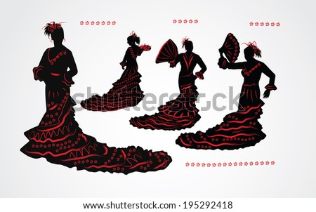 Woman dancing flamenco. Set of black and red silhouettes on whit - stock vector