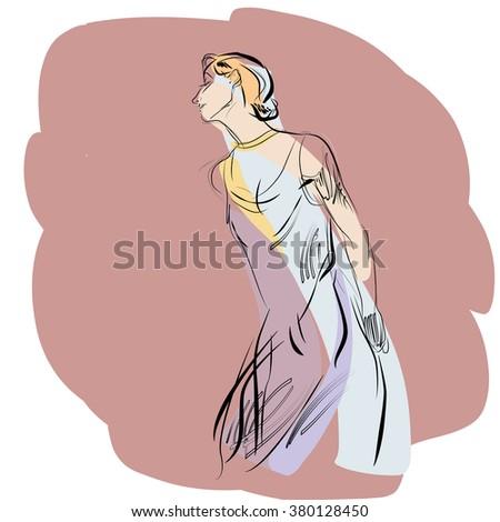 Woman dancing music vector illustration - stock vector