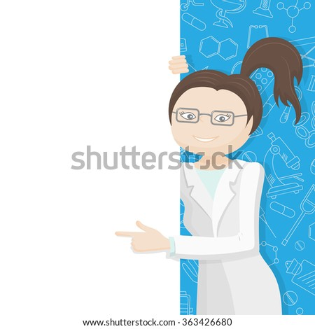 Woman doctor in a lab coat points to a blank banner on a blue background with icons on a theme medicine - stock vector
