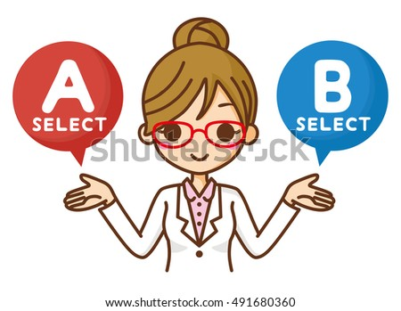 Woman doctor to select the A or B.