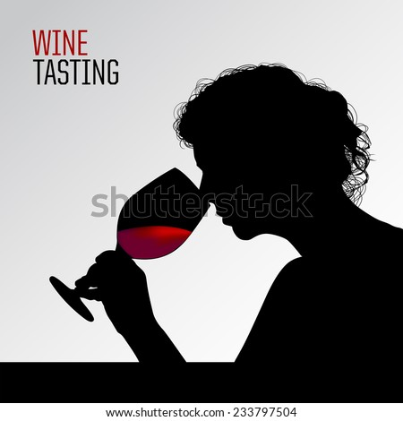 Woman doing a wine tasting. Silhouette of woman smelling a glass of wine. Vector.