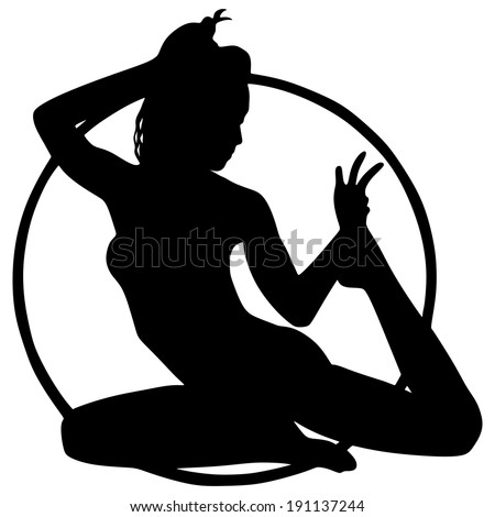 Woman doing exercises with hula hoop, vector  - stock vector