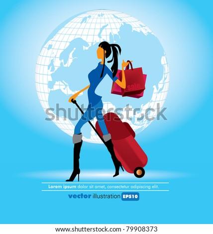 Woman doing shopping - stock vector