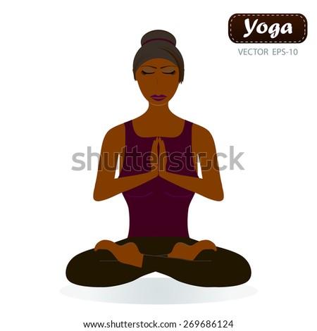 Woman doing yoga - stock vector