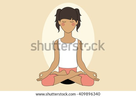 Woman doing Yoga and Meditation in Lotus Pose