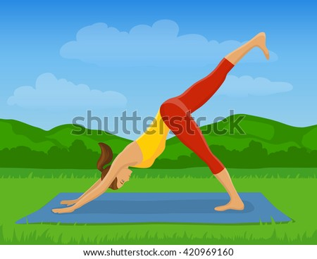 Woman doing Yoga Exercise Outdoor Vector Illustration. Yoga Downward Facing Dog leg up Pose. Yoga Class Outside - stock vector
