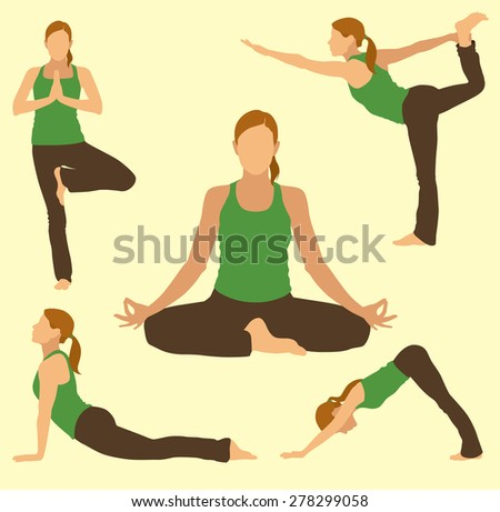 Woman Doing Yoga Poses - stock vector