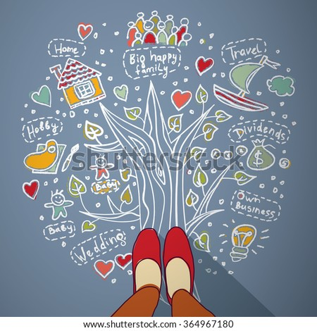 Woman draw dreams and planning life. Color vector illustration. EPS10 - stock vector