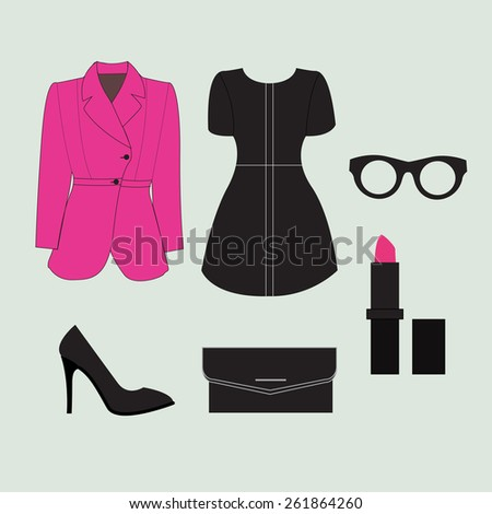 Woman dress and accessory - stock vector