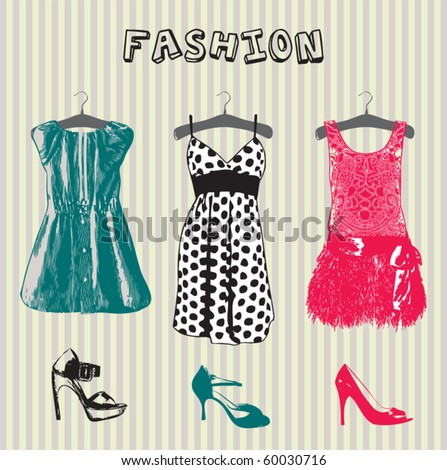 woman dress and shoes - stock vector