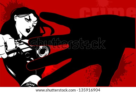 woman dressed in black with a gun in his hand (vector illustration) - stock vector