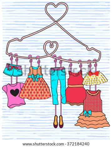 Woman dresses on a hanger and accessories set. - stock vector