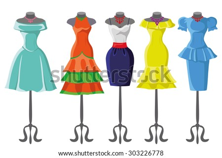 Woman dresses on a hanger and accessories set.Summer party. Short and long elegant bright color design lady dress ,handbags,hat,shoes collection.Vector art image illustration, isolated on background - stock vector