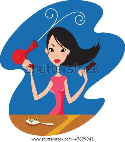 Woman dries hair a hairdryer - stock vector